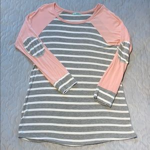 Pink & Gray striped PS Kate top, large